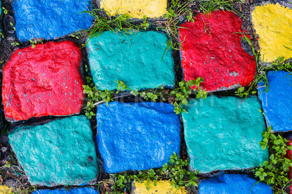 Colourful painted stone paving texture Stock photo © bubutu