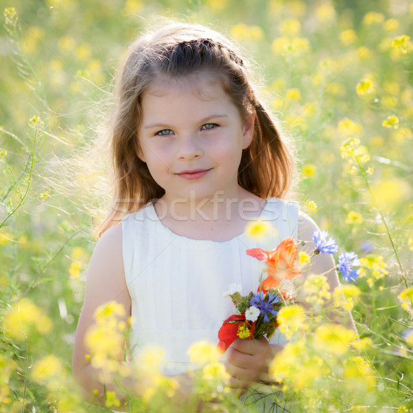 Cute meisje weide wild lentebloemen weinig Stockfoto © bubutu