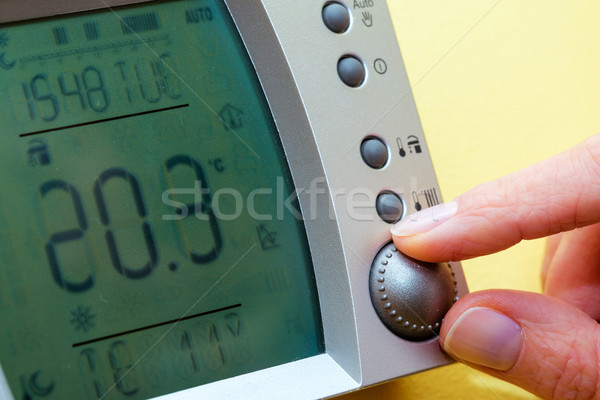 Stock photo: Control panel of the gas boiler for hot water and heating. Copy