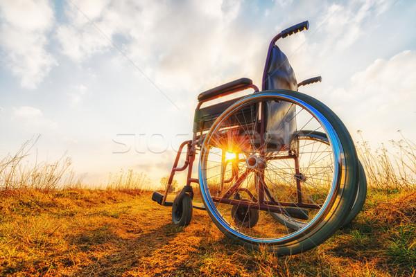 Pusty wózek łące wygaśnięcia cud osoby Zdjęcia stock © bubutu