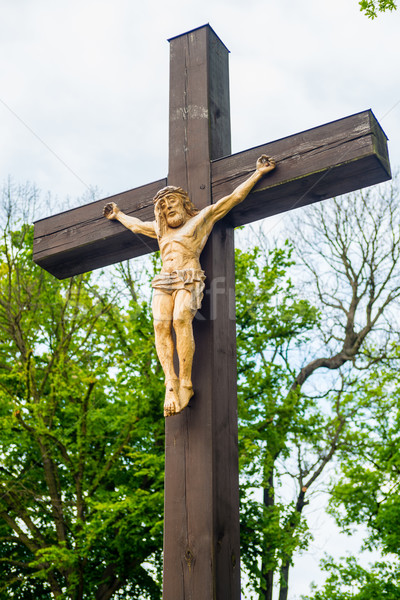 Jesus christ suspendu croix bord de la route crucifix Photo stock © bubutu
