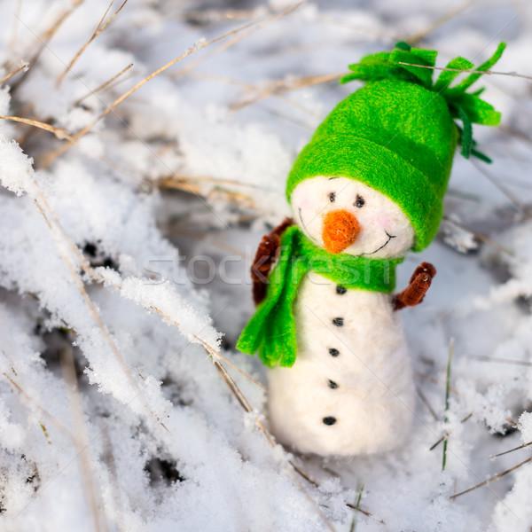 Gelukkig sneeuwpop sneeuw winter christmas glimlachend Stockfoto © bubutu
