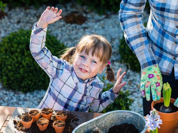 девушки цветок ребенка садоводства матери Сток-фото © bubutu