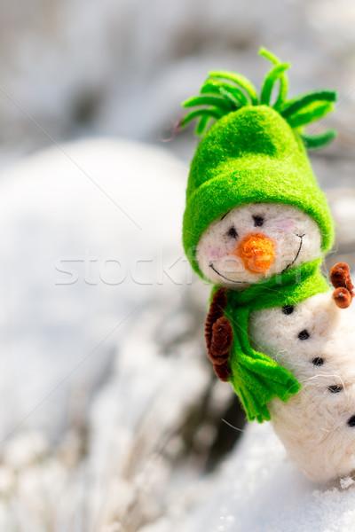 Gelukkig sneeuwpop sneeuw exemplaar ruimte winter christmas Stockfoto © bubutu