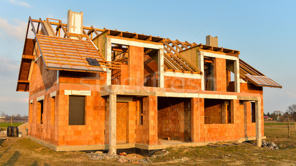 Ruw baksteen gebouw huis bouw muur Stockfoto © bubutu