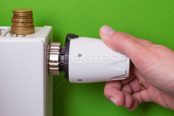 Radiator thermostat, coins and hand - green Stock photo © bubutu