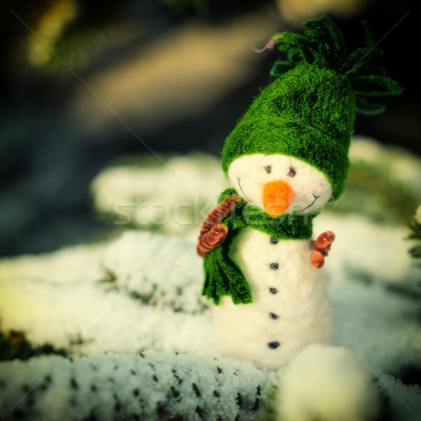 happy vintage snowman on snow (copy space) Stock photo © bubutu