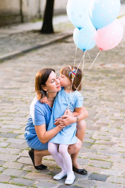 Kız öpüşme anne mutlu kadın küçük Stok fotoğraf © bubutu
