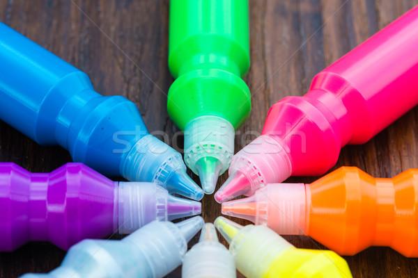 Flessen kleurrijk drogen houten abstract Stockfoto © bubutu