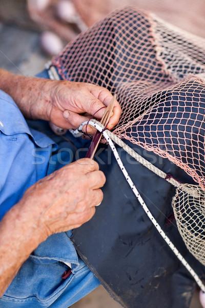 Balıkçı tamir eski mavi Stok fotoğraf © bubutu