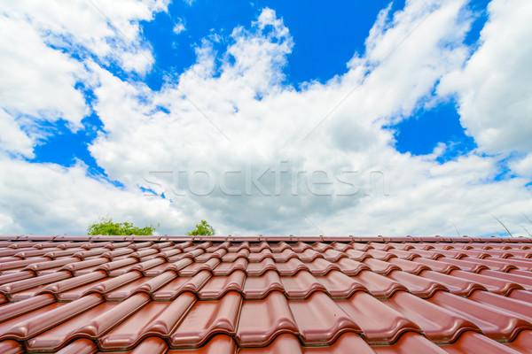 ブランド 新しい 赤 屋上 青空 空 ストックフォト © bubutu