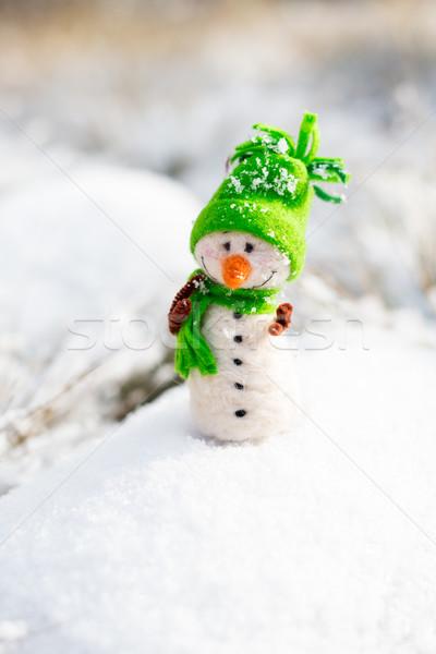 happy snowman on snow  Stock photo © bubutu