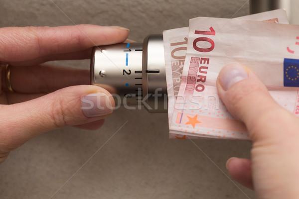 Radiátor termosztát kéz szelep beállítás mentés Stock fotó © bubutu