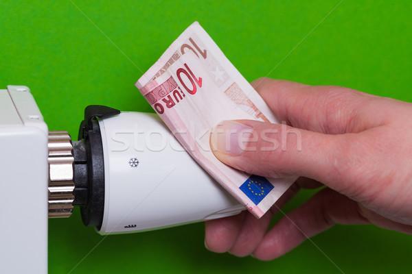 Radiador termóstato mão verde feminino Foto stock © bubutu