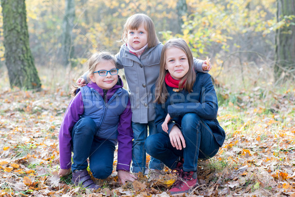 Three sisters in the autumnal forest smiling Stock photo © bubutu