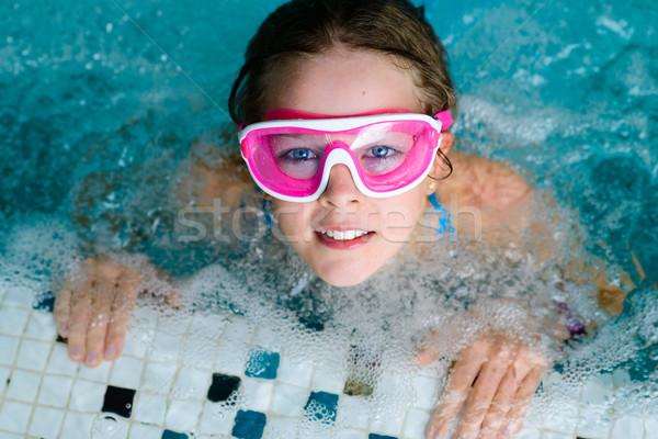 かわいい 幸せな女の子 ピンク ゴーグル マスク スイミングプール ストックフォト © bubutu