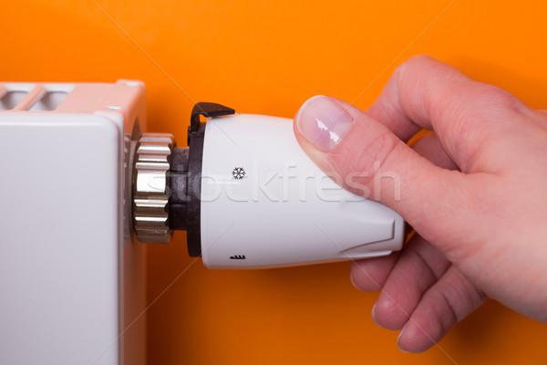 радиатор термостат стороны оранжевый женщину температура Сток-фото © bubutu