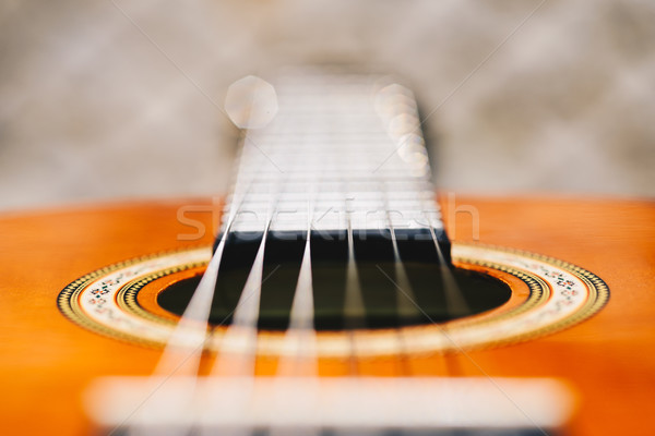 Acoustic guitar bridge and strings close up Stock photo © bubutu