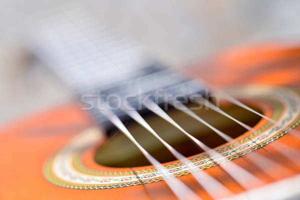 Stock photo: Acoustic guitar bridge and strings close up - macro