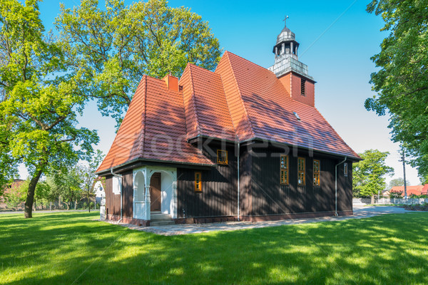 Norwegian wooden church in Krzesiny - Poznan Stock photo © bubutu