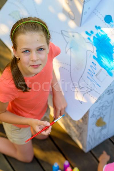 Young Girl Painting Cardboard House Stock photo © bubutu