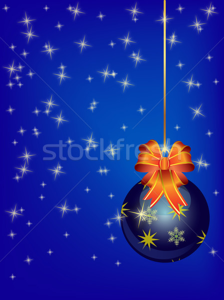 Winter background with blue christmas ball Stock photo © Bumerizz