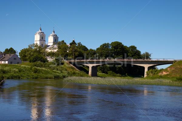 Fascino panorama fiume ponte alberi chiesa Foto d'archivio © Bumerizz
