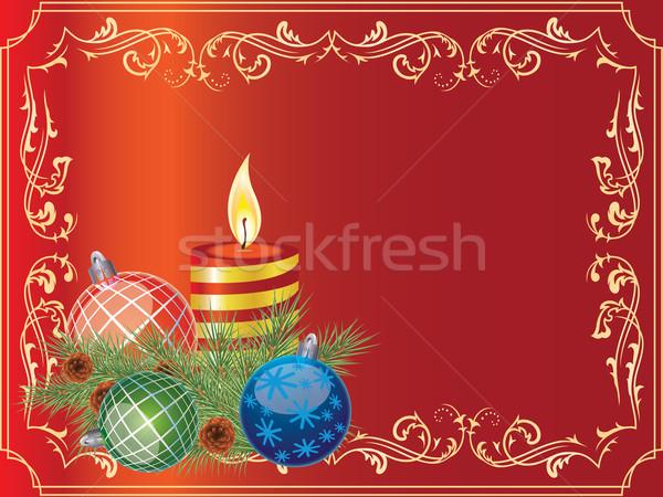 Noel tebrik kartı top hediye kutusu yanan mum Stok fotoğraf © Bumerizz