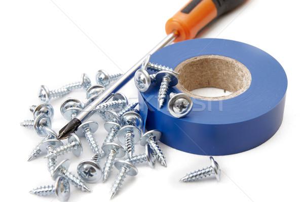 работу инструменты изолированный белый лента железной Сток-фото © Bumerizz
