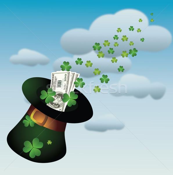 День Святого Патрика Hat деньги лист клевера облаке Сток-фото © Bumerizz