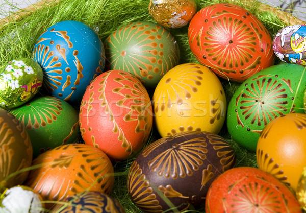 пасхальных яиц подробность корзины Пасху украшение Сток-фото © Bumerizz