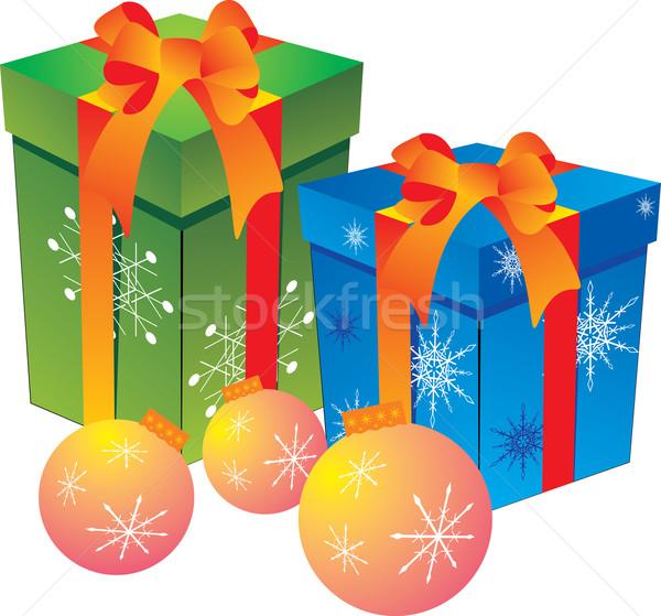 Hediye kutusu yeşil mavi kutu Noel Stok fotoğraf © Bumerizz