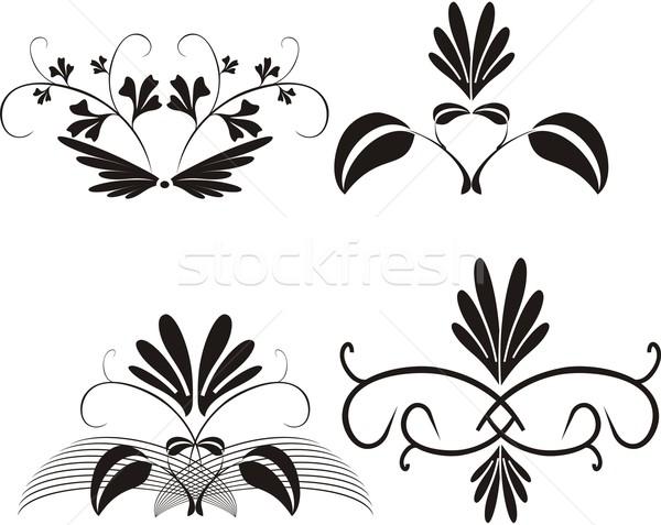 цветочный вектора черно белые дизайна фон Сток-фото © Bumerizz