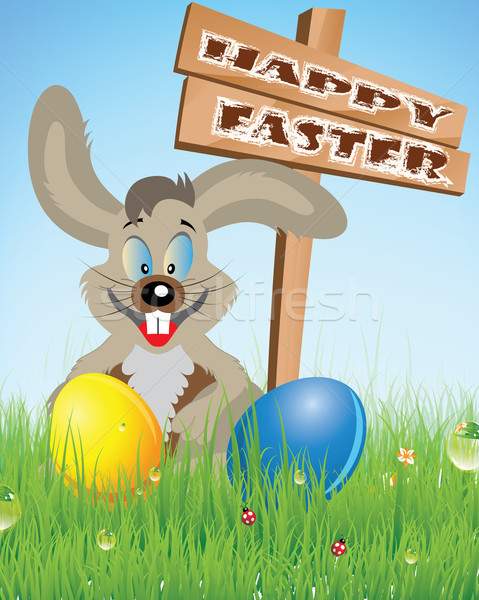 Iyi paskalyalar Paskalya easter bunny paskalya yumurtası bahar yumurta Stok fotoğraf © Bumerizz
