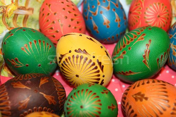 окрашенный пасхальных яиц яйца украшенный различный Пасху Сток-фото © Bumerizz