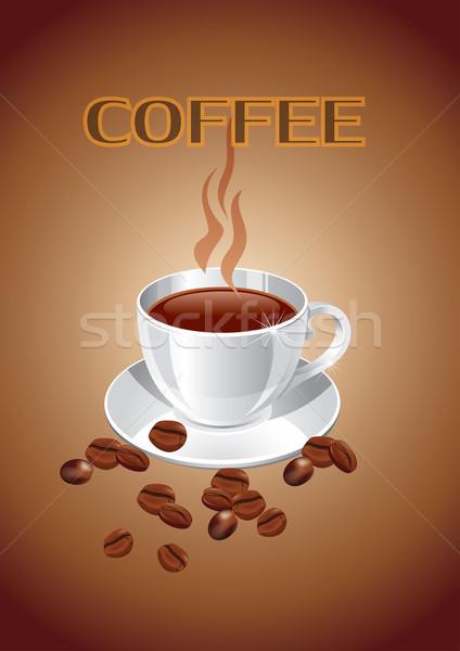 Fincan kahve kahve fincanı kahve çekirdekleri arka plan Stok fotoğraf © Bumerizz