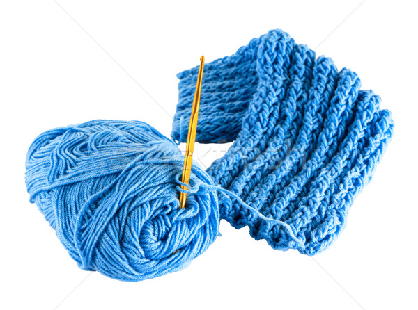 fragment blue knitting cloth Stock photo © Bunwit