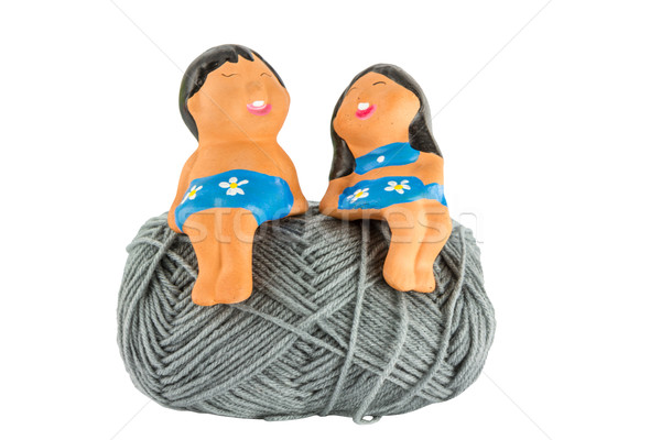 smile doll on ball yarn Stock photo © Bunwit