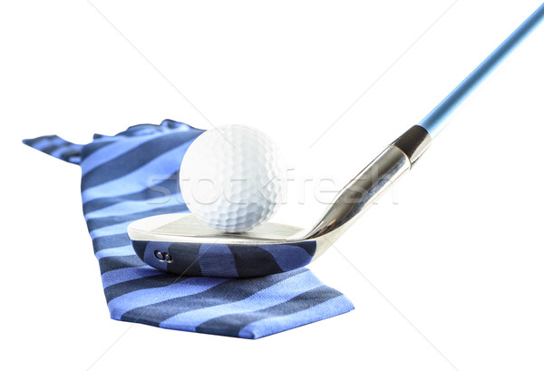 Golf ball on golf clubs with necktie Stock photo © Bunwit