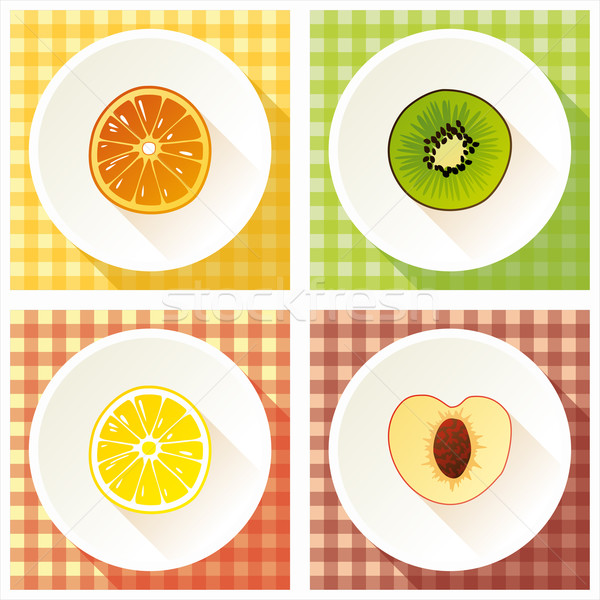 набор фрукты поперечное сечение киви лимона оранжевый Сток-фото © Bunyakina_Nady
