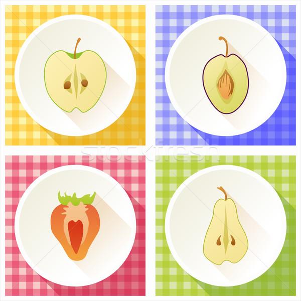 набор фрукты поперечное сечение груши клубника яблоко Сток-фото © Bunyakina_Nady