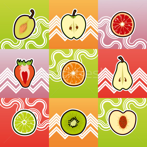 набор смешные фрукты поперечное сечение продовольствие крест Сток-фото © Bunyakina_Nady