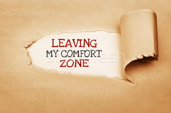Meu conforto escrito atrás papel rasgado negócio Foto stock © burtsevserge