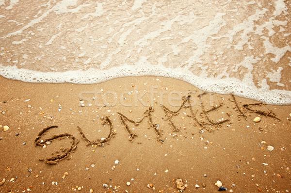 Verão escrito areia praia escrita viajar Foto stock © burtsevserge