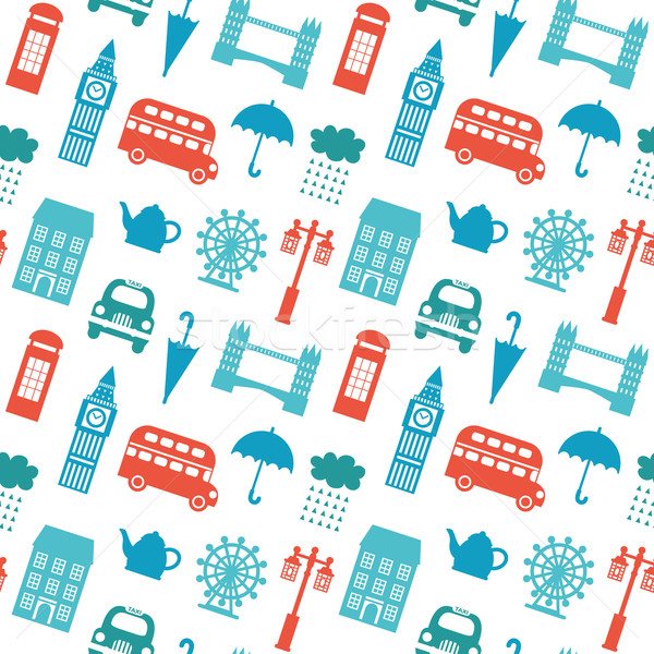 Seamless pattern with London symbols Stock photo © burtsevserge