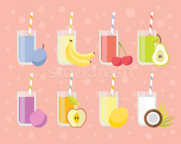 Stock photo: Fresh juices set in flat style