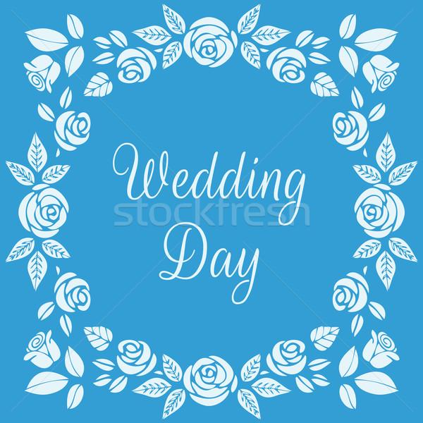 Düğün gün çerçeve güzel güller Stok fotoğraf © burtsevserge