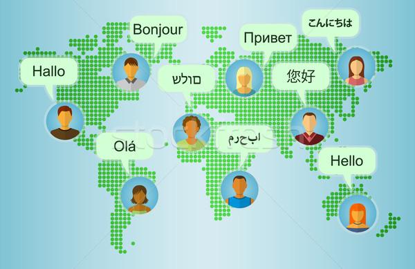Set of People Icons on Earth Map Background Stock photo © burtsevserge