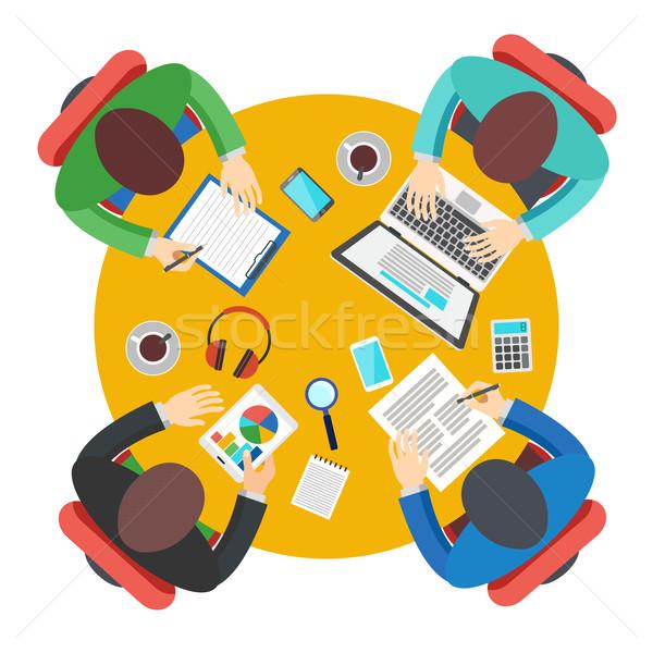 Reunião de negócios escritório trabalho em equipe estilo moderno Foto stock © burtsevserge