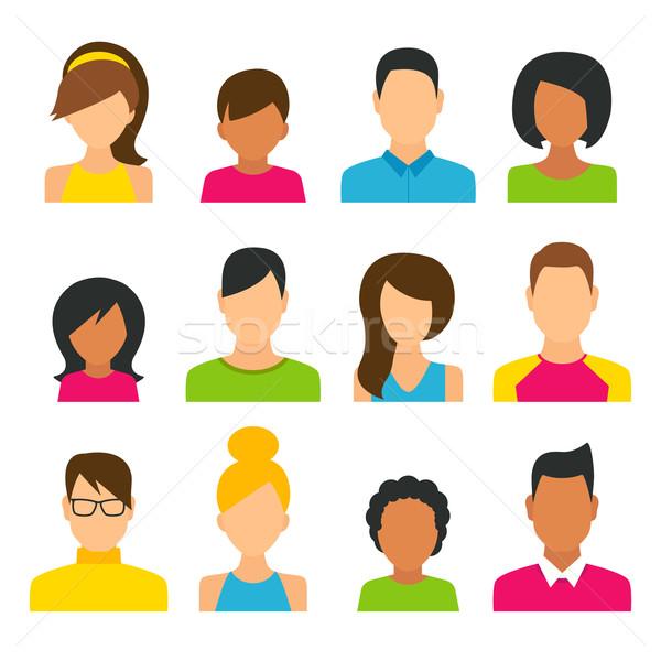 People Icons Set Stock photo © burtsevserge